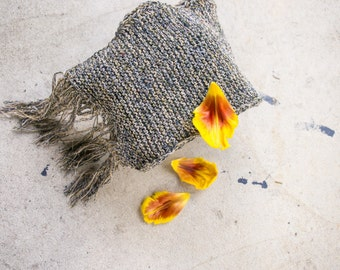 Handknit scarf / ONNO // organic cotton + linen / fringe  one of a kind / ready to ship