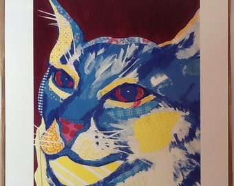 Contemplative Cat Original Collage Limited Edition Print