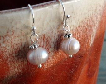 Freshwater Pearls Delicate Dangle Earrings Creamy White