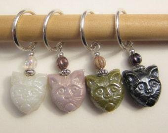 4 Grumpy Kitty Stitch Markers - Crochet or Knit - You Choose