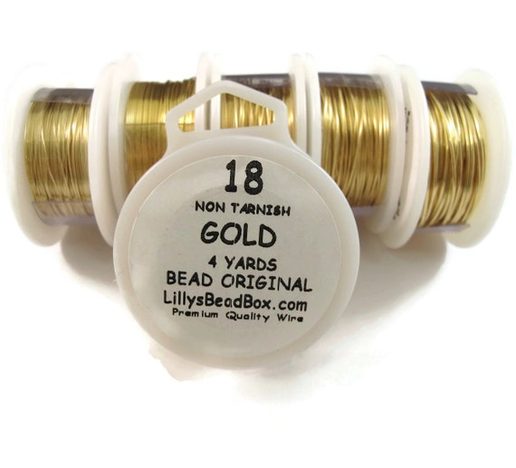 Gold Plated Wire - 18 Gauge Round Wire for Making Jewelry, Non Tarnish Wire, Wire Wrapping Supplies