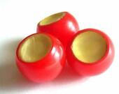 Antique Ball Buttons Red Bakelite x3 Celluloid Faux MOP