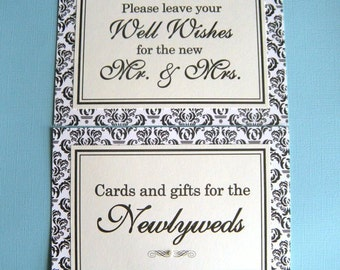 Two 5x7 Flat Wedding Paper Signs in Black and Cream Damask - Wedding Guest Book and Cards and Gifts Table  - READY TO SHIP