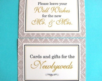 CLEARANCE 5x7 Flat Wedding Sign Package in Gold Damask and Cream - Cards and Gifts for the Newlyweds and Wedding Guest Book - Ready to Ship