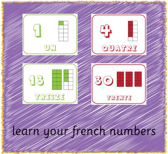 Printable French Number Cards 1-30 by Serendipitydw on Etsy