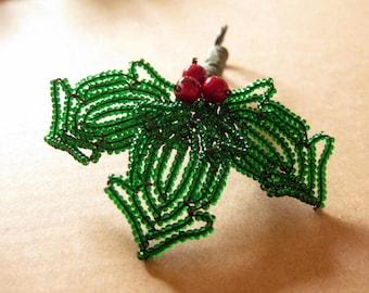 Handmade holly ornament - French beaded Christmas decoration
