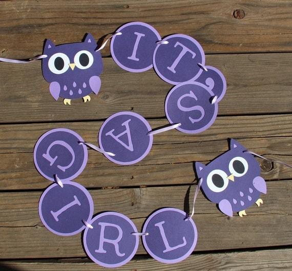 Baby Shower Custom Banners: Items Similar To Owl Baby Shower Banner In Purple- Custom