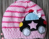 Girls Knit striped Police CAR inspired  Childrens  handmade Beanie, childrens clothing, girl clothing, girls hat, baby  fashion, girls hats