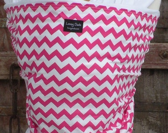 ORGANIC COTTON Baby Wrap Sling Carrier-Fuchsia Chevron on White-DvD Included-One Size Fits All-Newborn -Toddler
