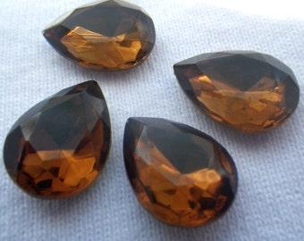 Smoky Topaz Vintage 18X13mm Pear Glass Gems Foiled 4 Pcs