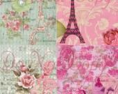 Buy 1 Get 1 FREE Paris Tea Rose - Carte Postale - French Shabby - Digital Collage - Antique Images - INSTANT Download