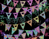 Buy 1 Get 1 FREE Glitter Doodle - Pennant Heart Banners -  Party Digital Clipart - Scrapbooking Graphics INSTANT Download