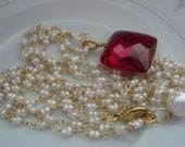 Ruby Red Topaz Cushion Tiny Seed Pearl Necklace