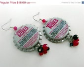 50% off sale Pink Tab Bottlecap Earrings