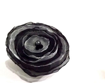 Black and White Organza Hair Flower Clip