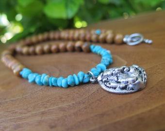 Ganesha Elephant Tibetan Silver Pendant Necklace - Turquoise Wood - Yoga -Earthy Natural - Wooden - Inbloom - Stone Crystal Yogi Jewlery