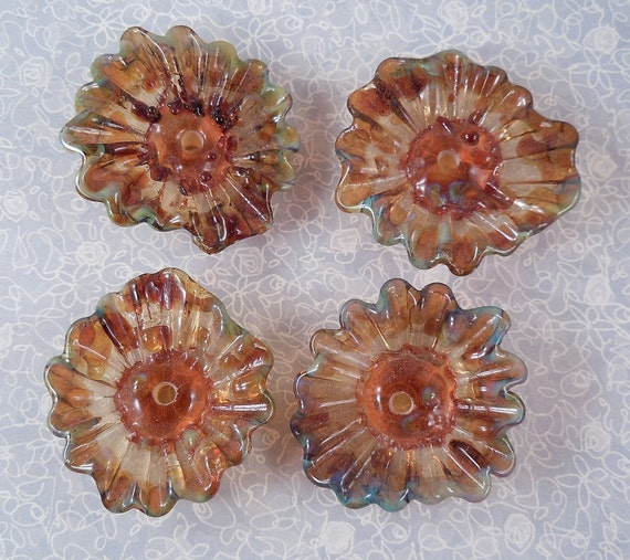 Pretty Poppies - Lampwork flower Beads - multi colored earth tones