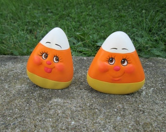 Ceramic candy corn - Halloween decorations - fall decor - Pair of Cute Candy Corn - smiling candy - home decor - autumn decorating