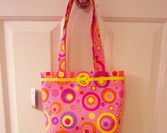 SMALL TOTE BAG Pink Mod Retro Dots Purse Handbag Mad Men 60s