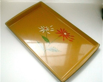 Lacquerware Tray - Vintage 60's - Japan Made - Pea Green MOD Flowers - Norleans