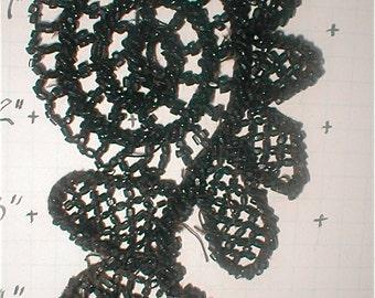 Beaded Applique Trim - Antique Jet Black Beads Floral Detail