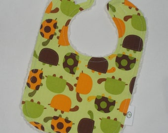 Green Turtles  Chenille Bib - SALE