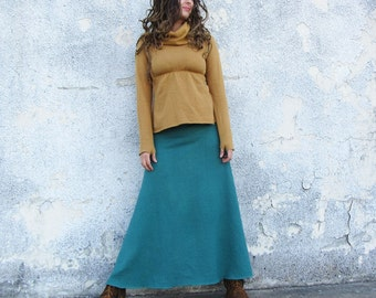 ORGANIC Wanderer Long Fleece Skirt (hemp and organic cotton fleece) - organic skirt