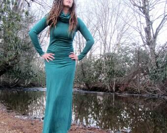 Women's Organic Chunky Cowl Pokara Long Dress  (FLEECE hemp/organic cotton knit) - hemp dress