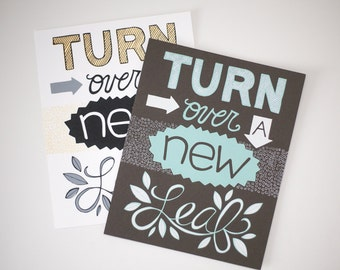 turn over a new leaf print hand drawn typography