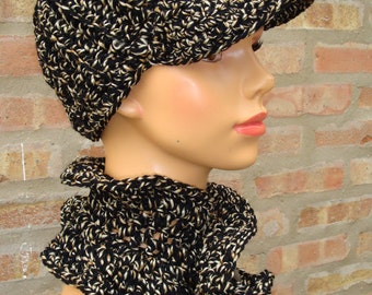 Black and Gold Hat Set - Cap and Scarf