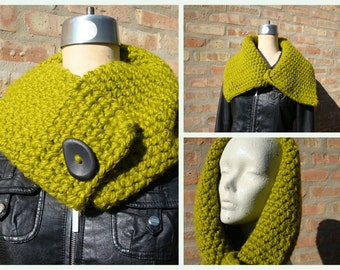 Lemongrass Green Crochet Scarf / Cowl / Neckwarmer - MultiScarf -Oversized Scarf with Buttons - Wool and Acrylic