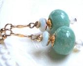 ONE for LYNN without chain - Amazonite Earrings, Fiery Opal Earrings, Art Deco Earrrings, Australian Opal, Bridesmaids Gift, Wedding Jewelry