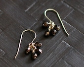 lucky in bronze - beaded drop earrings