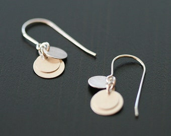 dolce in silver - brushed silver coin earrings by elephantine