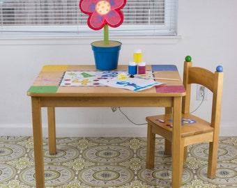 "Splat Mat/Tablecloth ""Clock Medallion"" - Laminated Cotton BPA  & PVC Free - Choose Your Size below!"