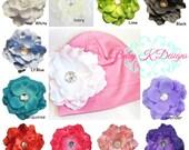 Newborn Knit Cotton Beanie / Baby Girls Hat / Pink n White VIVIAN Flower Beanie Hat / Hospital Hat / Kids Warm Hat/ MORE Sizes and Colors