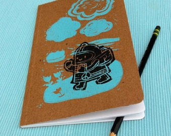 Peace Machine and Clouds Blank Book 5in. x 8in. 24 sheets, 48 pages. 100% Recycled.