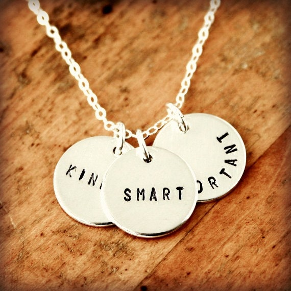 Kind Smart Important - Personalized three charm necklace
