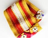 cuff freeform crochet ochre carmine ecru turquoise beads