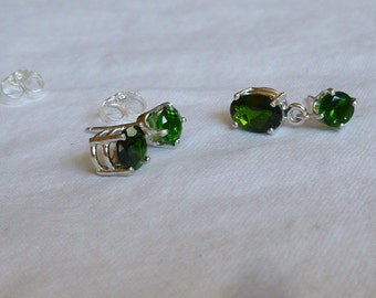 approximately 2 ct total weight chrome diopside sterling silver post dangle earrings