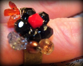 Glass Beaded Ring Antiqued Brass adjustable band Black Red Leaf By Make Mine Pretty