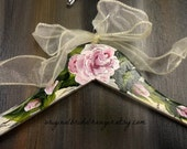 Bridal Dress Hangers Shabby Chic Ivory Crackled Paint Hand Painted Roses Bride Hangers No Wire Wedding Photo Prop