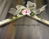 Painted Dress Hangers Shabby Chic Ivory Crackled Paint Hand Painted Roses Bride Hangers No Wire Wedding Photo Prop
