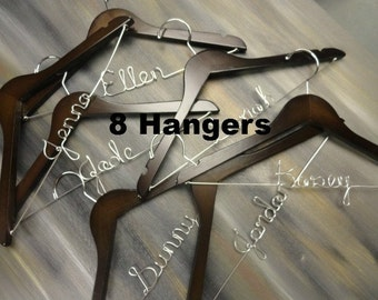 Bridesmaids Hangers - Will You Bridesmaid - Set of 8 - Bridal Party Hangers - Bridal Keepsake - Bridesmaid Dress - Bridal Party Gifts - Gift