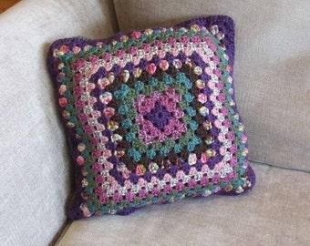 Small Autumnal Crochet Cushion Cover