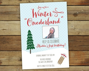 Winter ONEderland party invitation, first birthday party