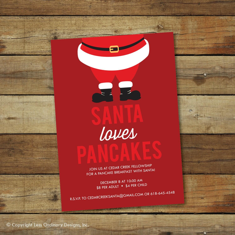 Santa breakfast invitation, pancake breakfast, Christmas party ...