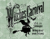 Digital Download Witches Carnival Sign image Illustration, Halloween digi stamp, Witch Party digital transfer Fall Autumn Scary Creepy