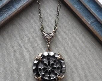 Antique Glass Button Necklace- Frozen