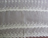 Vintage Ivory Sheer Embroidered Curtain Beautiful Cutwork As Is